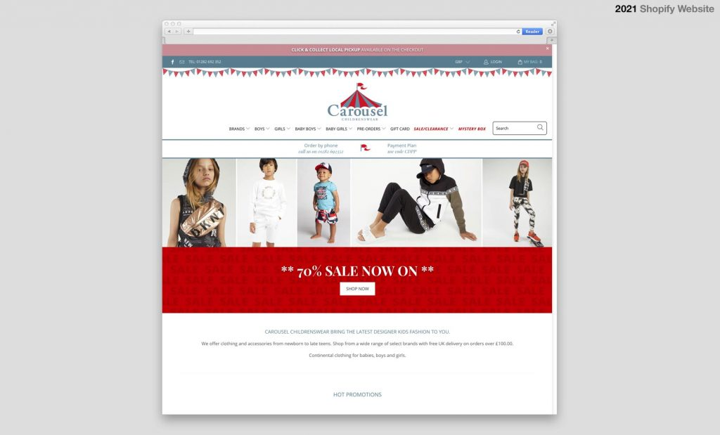 Caoursel Shopify Website