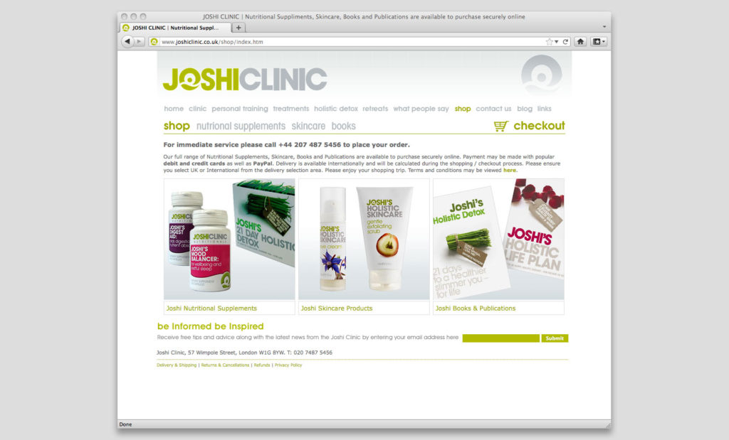 Joshi Clinic website by Rees Kenyon Design Devon UK
