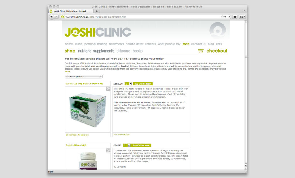 Joshi Clinic eShop by Rees Kenyon Design Devon UK