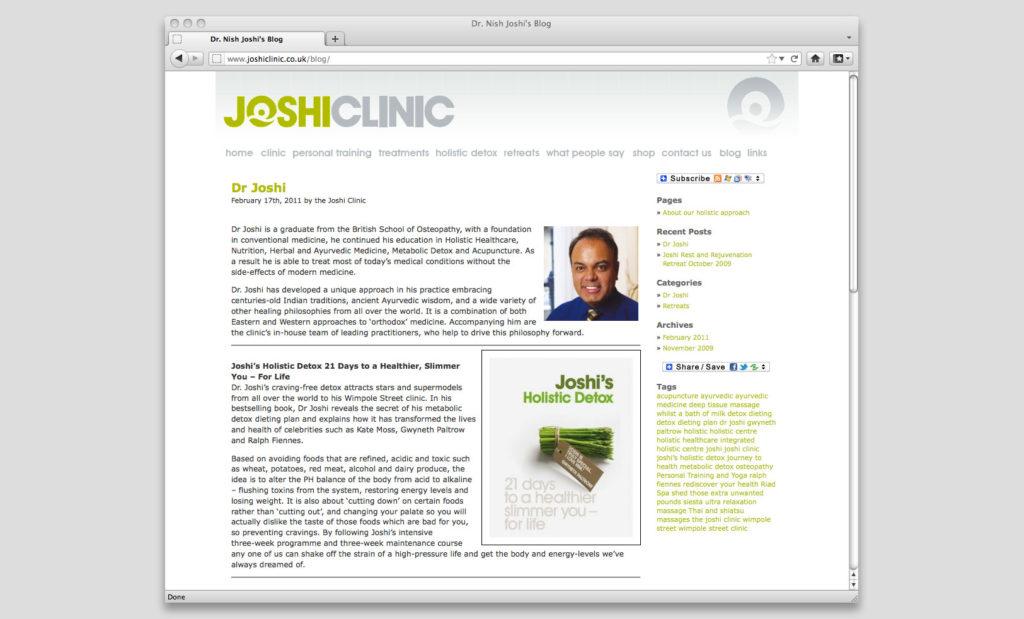 Joshi Clinic blog by Rees Kenyon Design Devon UK