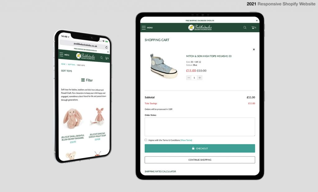 Shopify Websites for Mobile and Tablet