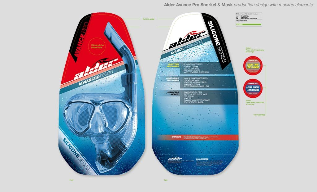 Snorkel and goggle packaging UK