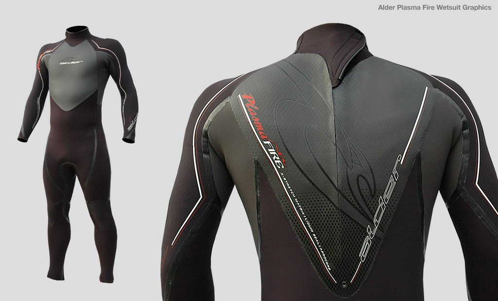 Alder Plasma Fire wetsuit graphic design Devon UK