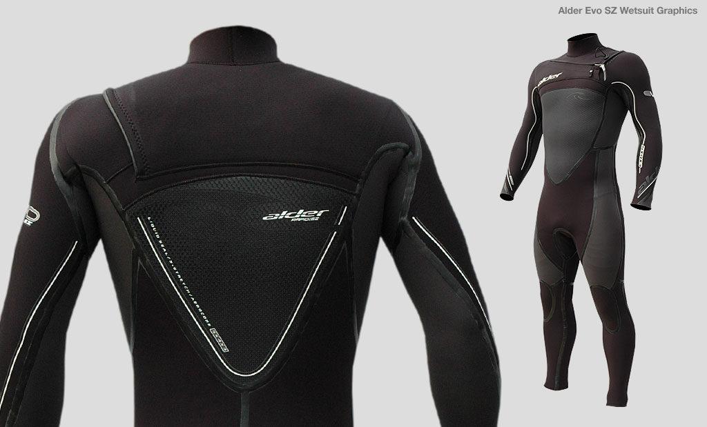 Alder Evo SZ wetsuit brand graphic design Devon UK