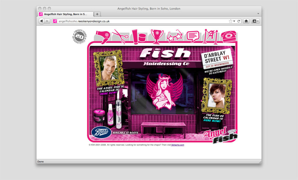 Angel Fish Soho website by Rees Kenyon Design