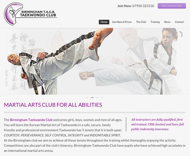 Birmingham Taekwondo Club Website Design