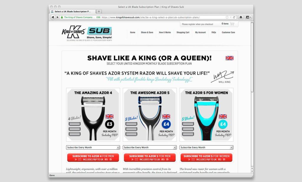 eShop subscriptions website UK web designer