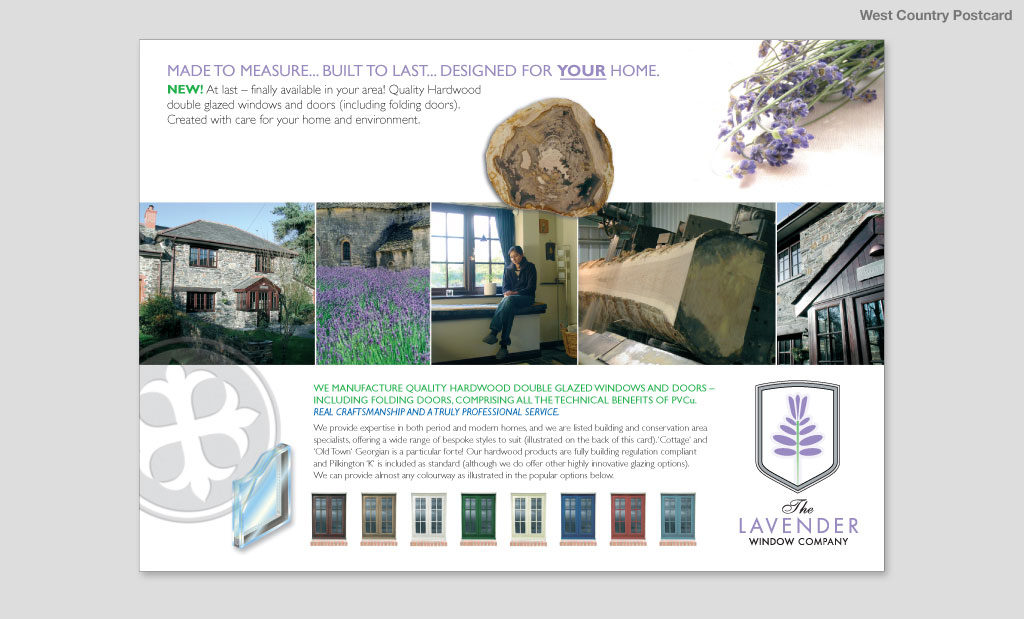 The Lavender Window Company postcard advertising mailer by Rees Kenyon Design Devon