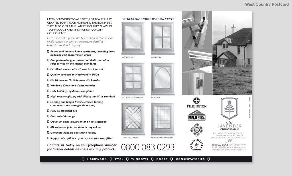 The Lavender Window Company postcard advertising mail out by Rees Kenyon Design Devon