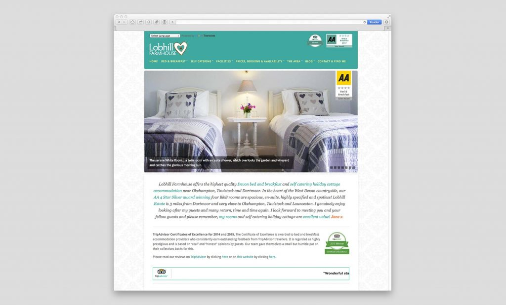 Lobhill Farmhouse Website
