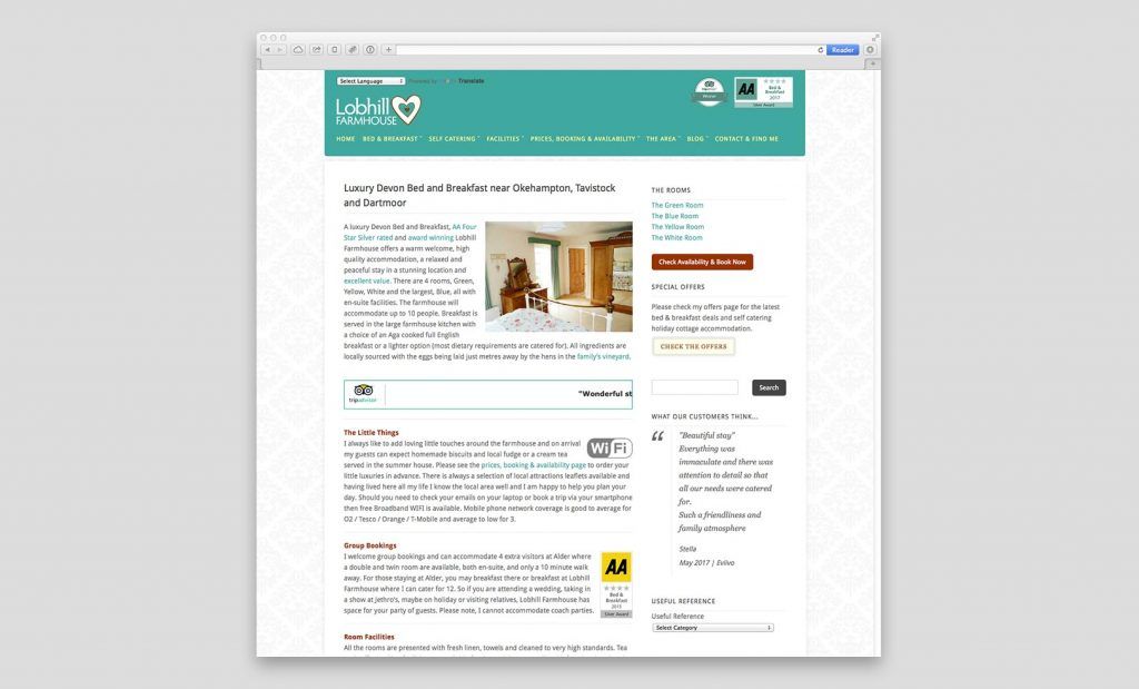 Bed and Breakfast Website Mobile Optimised