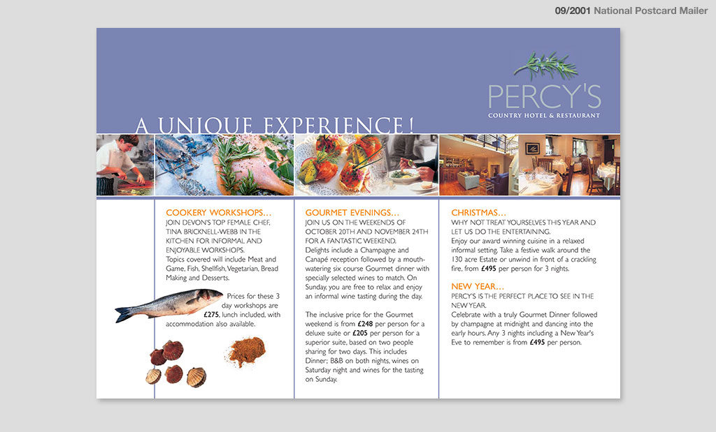 Percys Country Hotel and Restaurant mailer advertising by Rees Kenyon Design Devon UK