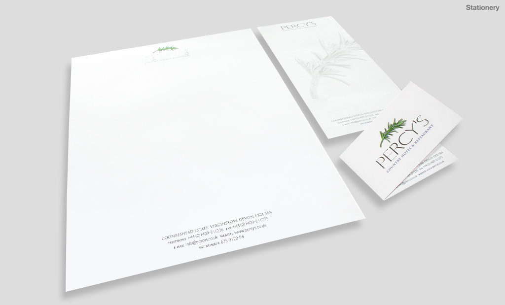Percys Country Hotel and Restaurant stationery design by Rees Kenyon Design Devon UK