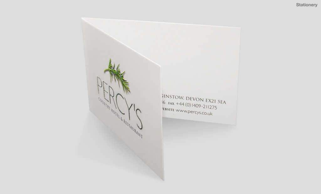 Percys Country Hotel and Restaurant foil blocked and embossed business card by Rees Kenyon Design Devon UK