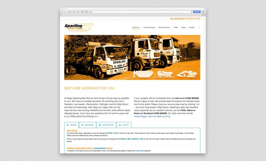 Sparling Skip Hire Website 1