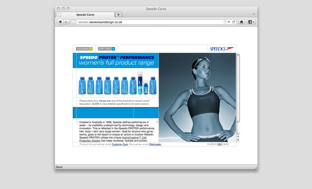 Speedo UK site design by Rees Kenyon Design Devon UK