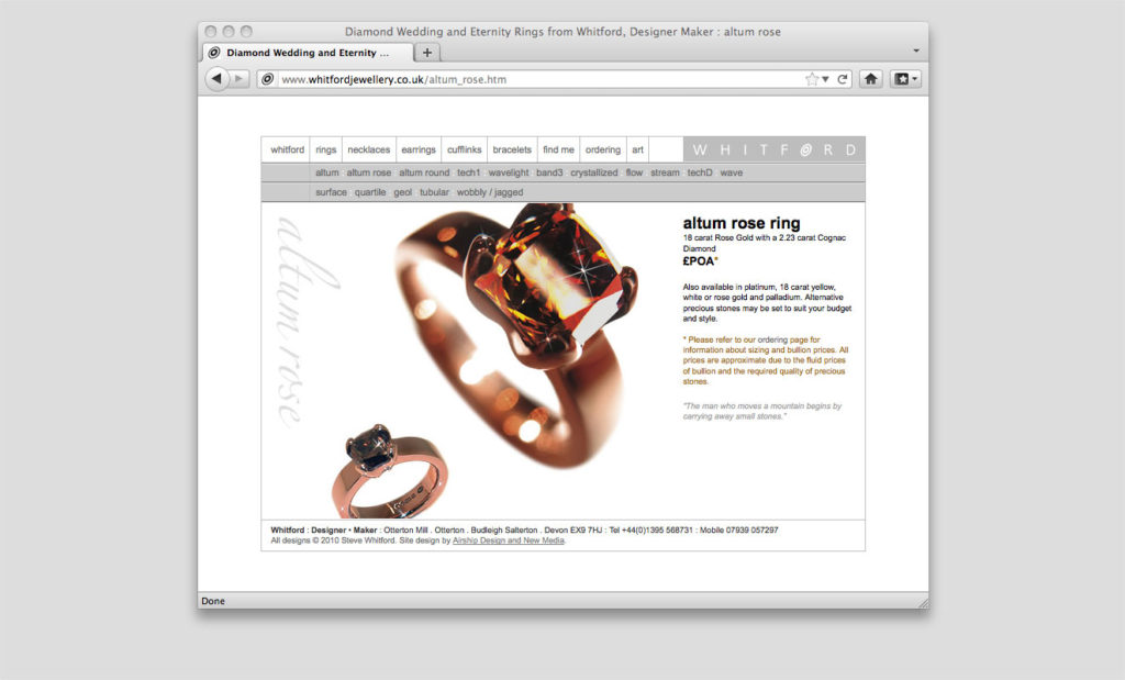 Organic jewellery website by Rees Kenyon Design Devon UK